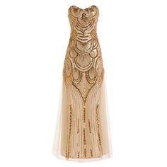 Graceful Sequin Strapless Lace Women's Prom Dress, GOLDEN, M in Lace Dresses | DressLily.com