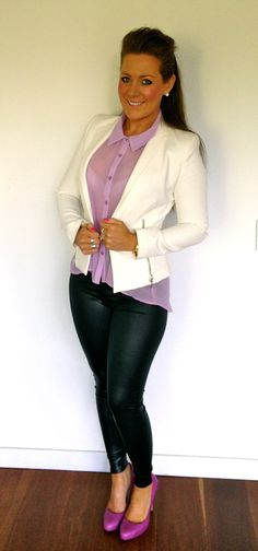 Pastel purple collared top + white zip Zara blazer + black leather leggings + Tony Bianco purple leather heels
