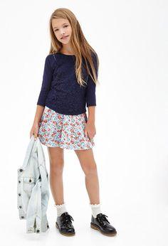 Floral Lace Raglan Top (Kids) | FOREVER21 girls | #f21kids