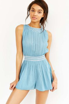 Kimchi Blue Wedgewood Embroidered Romper - Urban Outfitters