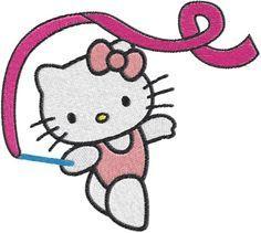 Hello kitty gymnast Machine Embroidery Design -- 0611