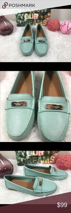 Authentic coach New & RARE loafers shoes flats 8.5 NEW & RARE $165 Coach Fredrica pistachio Green leather loafers 6.5 7.5 8.5  GORGEOUS.......    NWT Coach Fredrica muted pistachio pebble leather slip on loafers...very very RARE!!!!   Leather upper raised seam stitching, silver metal embossed COACH® emblem on top upper slip of loafer design   Tonal stitching all over   Leather lining & insole rubber sole  Ribber gripper bottoms Coach Shoes Flats & Loafers