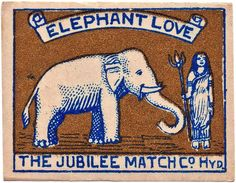 elephant matchbook label | Bright..bold…dramatic….such are the matchbox labels from India.