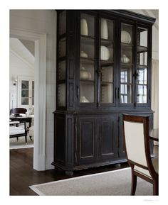 would look great in dining area at end of long living rm Love this.refinished a similar antique hutch/china cabinet a decade ago but in dark hunter green and it turned out great. Antique Hutch, Antique Cabinets, Antique China, Black Furniture, Distressed Furniture, Furniture Makeover, Diy Furniture, Hutch Makeover, Antique Furniture