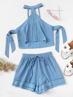 Product name: Lace Insert Halterneck Top & Shorts Set at SHEIN, Category: Two-piece Outfits Teen Fashion Outfits, Girl Outfits, Womens Fashion, Cute Summer Outfits, Cute Casual Outfits, Jugend Mode Outfits, Belted Shorts, Two Piece Outfit, Clothing Co