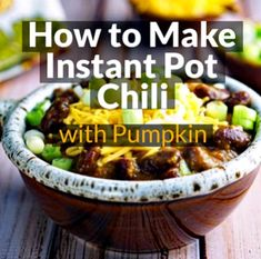Learn how to make Instant Pot Chili with Pumpkin. This instant pot recipe is perfect for pressure cooker beginners. Pressure Cooker Chili, Instant Pot Pressure Cooker, Pressure Cooker Recipes, Grilling Recipes, Cooking Recipes, Healthy Recipes, One Pot Meals, Easy Meals, Chili Recipe Video