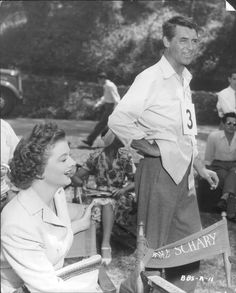Myrna Loy and Cary Grant, 1947, on the set of The Bachelor and the Bobby-Soxer