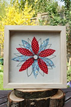 This is a handmade embroidary red pokerdot and blue material flower piece. In a white frame. Hand sewn on a sewing machine. Other colours are available not including P&P Hessian, Beautiful Hands, Hand Sewn, Decorating Your Home, Shabby Chic, Colours, Rustic, Sewing, Frame