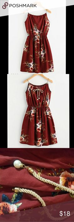 Floral Self Tie Dress New w/o tags.   Length: 85cm  **missing one of the pearls at the end of rope Dresses