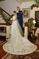 Kate and Mike choose to get married in front of the stairs of the Grand Hall at our #Rockland inn. This is a popular place for the #elopement ceremony and pictures.