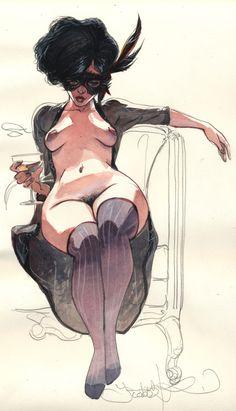 By Yannick Corboz Life Drawing, Figure Drawing, Illustrations, Illustration Art, Serpieri, Street Art, Pin Up, Poses, Girl Cartoon
