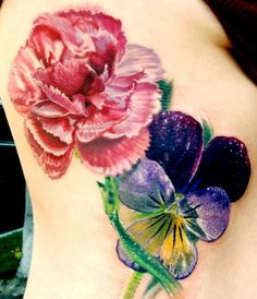 Pink Carnation and Sweat Pea tattoo tattoo design