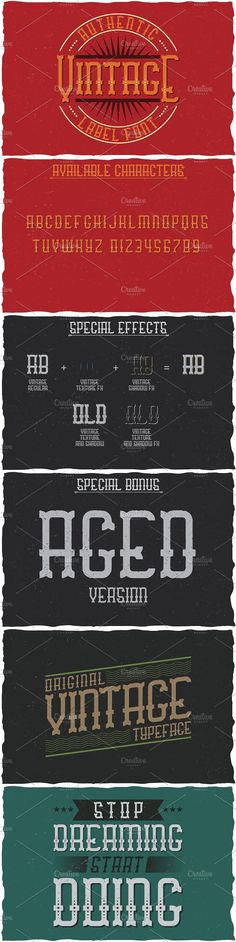 """Here is a classic look label typeface named """"Vintage"""". It's made in vintage label style. Font is perfect for any labels design. Vintage Fonts, Vintage Labels, Gothic Fonts, Typographic Design, Cool Fonts, Label Design, Classic Looks, Color Change, Positivity"""