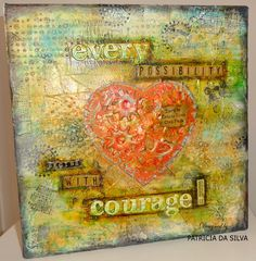 Mixed Media Art Canvas Collage  - Industrial Heart