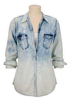 Ombre washed denim shirt from maurices. Shop more products from maurices on Wanelo. Fashion Line, Denim Fashion, Fashion Outfits, Boho Fashion, Camo Shirts, Denim Shirt, Denim Blouse, Dress To Impress, Style Me