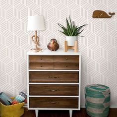 Removable, Repositionable and reusable Fabric Wallpaper von WallPlays Self Adhesive Wallpaper, Fabric Wallpaper, Cube Pattern, Ideas Prácticas, Modern Wallpaper, Dresser As Nightstand, Textured Walls, Playroom, Kids Room