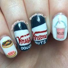 Krispy Kreme Nails Krispy Kreme, Pretty Nails, Nail Art Designs, Class Ring, Nail Polish, Make Up, Hand Painted, Treats, My Favorite Things