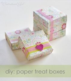 Paper treat boxes to make from cardstock scrapbook paper. So simple! Good as well for small gifts or party favors.