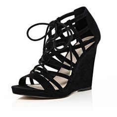 River Island Black lace-up caged wedge heels ($110) ❤ liked on Polyvore featuring shoes, black, shoes / boots, wedges, women, wedges shoes, kohl shoes, lace up wedge shoes, black lace up shoes and black cage shoes