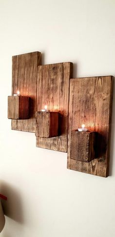 This Rustic handmade 3 tier candle holder is just one of the custom, handmade pi., Informations About This Rustic handmade 3 tier candle holder is just one Rustic Candle Holders, Rustic Candles, Diy Candles, Diy Pallet Projects, Wood Projects, Candle Shop, Rustic Lighting, Diy Home Crafts, Wooden Crafts