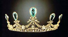 Hesse Aquamarine Tiara of Grand Duchess Elizabeth Feodorovna, Russia (ca. 1900; possibly made by Faberge; aquamarines, diamonds, gold).