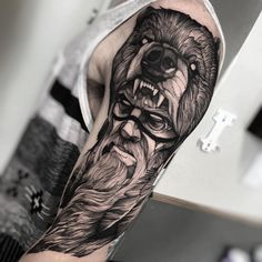 blackwork native tattoo with bear head by @fredao_oliveira