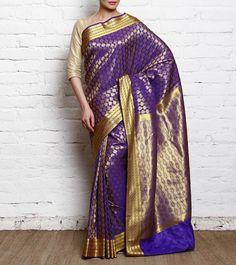 Blue & #Golden #Kanjivaram #Silk #HandloomSaree #Indianroots #flipkart