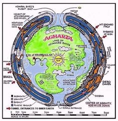 The legend of Agartha & the Hollow Earth  The first public scientific evidence occurred in 1947 when Rear Admiral Richard E. Byrd of the United States Navy flew directly to the North Pole & instead of going over the pole, actually entered the Inner Earth.    In his diary with other witnesses, he tells of entering the hollow interior of the Earth & traveling 1700 miles over mountains, lakes, rivers, green vegetation & animal life. (cont) http://www.v-j-enterprises.com/byrdiar.html