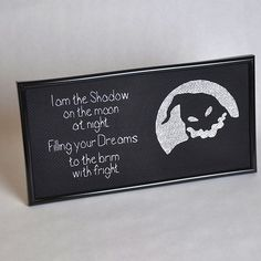 Oogie Boogie cross stitch--I'd like to somehow make this into a pumpkin carving. Maybe just paint/write the words on, and carve Oogie