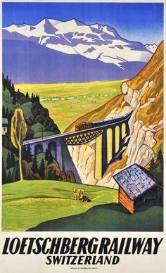 Loetschberg Railway, Switzerland vintage travel poster ~ 1931