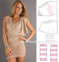 Modelagem de vestido com drapeado