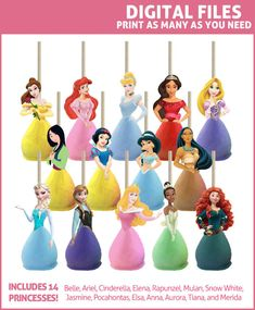 Decorate your cake pops with our ready-to-print toppers featuring 14 popular Disney princesses! These DIGITAL PRINTABLES feature 14 Disney Princesses: Belle, Ariel (The Little Mermaid), Cinderella, Elena of Avalor, Rapunzel, Mulan, Snow White, Jasmine, Pocahontas, Tiana, Anna, Elsa, Aurora (Sleeping Beauty), and Merida. BONUS: This set includes regular (front) images AND mirrored (back) images so you can create TWO-SIDED toppers if you wish! Just print/cut both versions and use double-...