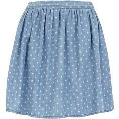 River Island Blue Polka Dot Skater Skirt ($44) ❤ liked on Polyvore