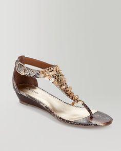 Summer is just around the corner! Get mom a comfortable yet high-glam staple. {bebe Sammy Medallion T-Strap Wedge Sandal}