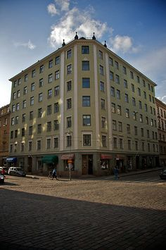 """This is a place called """"Viiskulma"""" which translates to """"Five corners"""". Oh, and all the pics are taken five o'clock! This corner is on Fredrikinkatu and Pursimiehenkatu."""