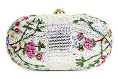 Authentic Judith Leiber Swarovski Floral Minaudiere Bag New