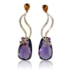 Earrings by Caroline C 18K yellow gold earrings with Amethyst, Citrine, Multicolor Sapphire and white Diamonds
