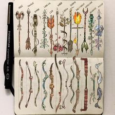 Official Post from Picolo: At last!<br>As I'm going to upload the zodiac archers I thought it would be cool to put bows and arrows side to side!<br>Which one is your favorite?<br> wand The Zodiac Bows and Arrows Art Sketches, Art Drawings, Sketch Drawing, Drawing Art, Arrow Drawing, Gabriel Picolo, Zodiac Tattoos, Horoscope Tattoos, Sagittarius Tattoos