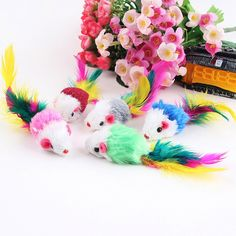 Pack of 5 Furry kitten Mice Cat Toys with Feathers and Fur ** Read more reviews of the product by visiting the link on the image.