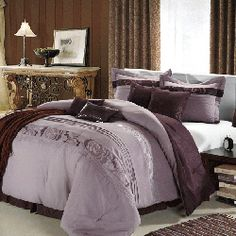 @Overstock - this comforter set features floral designs and pleated details for a captivating display. The set is finished with burgundy accents for a touch of chic color and is further enhanced with an all sequins decorative pillow.http://www.overstock.com/Bedding-Bath/Highpoint-Plum-8-piece-Queen-King-Comforter-Set/6803570/product.html?CID=214117 $99.99