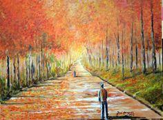 Autor: José Marques - Óleo s/ tela 60X45 - Título: Caminhantes no outono