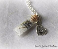 GLASS VIAL - Practical Magic Inspired Glass Vial Necklace with Lavender, Rosemary, and Salt