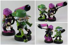 Custom Agents (Callie & Marie) Amiibo, based on their appearance in the single player of Splatoon! [Made with: Super Sculpey Firm, Winsor & Newton acrylics and Liquidex gloss varnish] _____...