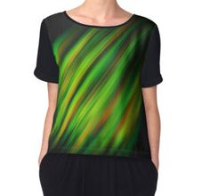 Colorful neon green brush strokes on dark gray Women's Chiffon Top by #PLdesign #abstract #neon #green