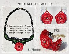 FSL necklace set - Embroidery design necklace - bracelet - earrings lace No.516 - 5x7hoop./INSTANT DOWNLOAD