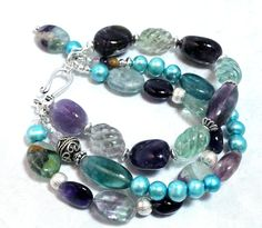 Excited to share the latest addition to my #etsy shop: Rainbow Fluorite Bracelet with Amethyst and Freshwater Pearls, Multi Strand, Sterling Silver http://etsy.me/2yTwKRb #jewelry #bracelet #multistrand #gemstonebracelet #fluoritebracelet #amethystbracelet