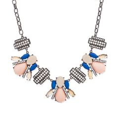 Roma's #bold and unexpected palette features light #pink, #blue, and #topaz #stones exquisitely cut in #teardrop and #marquis clusters for #dramatic effect. Rows of CZ's add #contrast against Roma's #edgy #hematite. Don't miss this on-#trend #statement piece.  $50  #Shop: https://dommamomma.kitsylane.com/index.php?file=product_detail&pId=4510