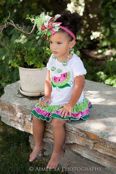 Girls Watermelon Embroidery Onesie, Shirt, or Dress by BIndulgedBoutique on Etsy https://www.etsy.com/listing/103574368/girls-watermelon-embroidery-onesie-shirt
