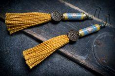 tassel earrings • artisan paper tube beads • mandala floral design • yellow blue • nomad earrings • india • ethnic • tribal • long earrings