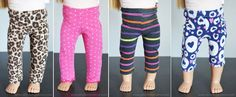 Easy 18 Inch Doll Leggings Tutorial - Artsy Fartsy Mama Easy Leggings for 18 Inch or American Girl Dolls with Free Printable Pattern American Girl Outfits, American Doll Clothes, American Girls, Sewing Doll Clothes, Girl Doll Clothes, Barbie Clothes, Girl Dolls, Dolls Dolls, Barbie Barbie